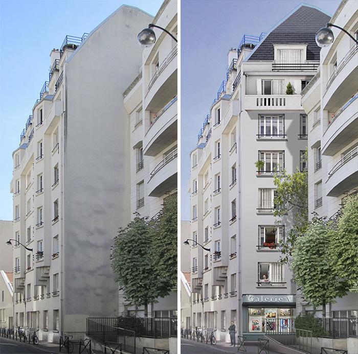 street art hyper realistic fake facades patrick commecy 4 - Artista francês transforma fachadas de prédios em desenhos cheios de vida