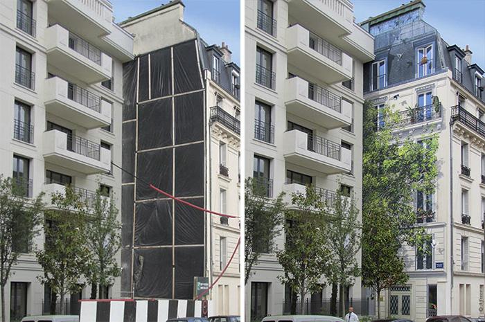 street art hyper realistic fake facades patrick commecy 5 - Artista francês transforma fachadas de prédios em desenhos cheios de vida