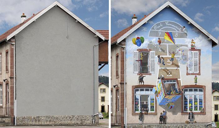 street art hyper realistic fake facades patrick commecy 8 - Artista francês transforma fachadas de prédios em desenhos cheios de vida