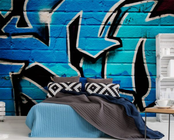 BLUE GRAFFITI WALL MURAL