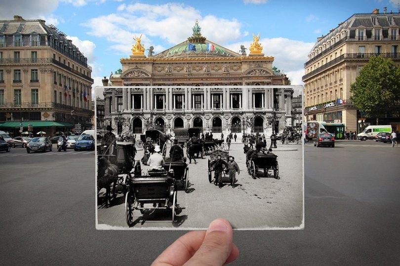 old paris past now photography julien knez 10 - Paris no passado nestas fotos justapostas