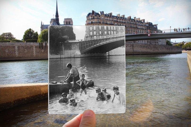 old paris past now photography julien knez 15 - Paris no passado nestas fotos justapostas