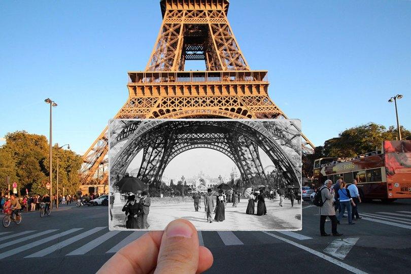 old paris past now photography julien knez 5 - Paris no passado nestas fotos justapostas
