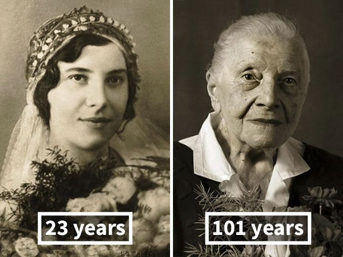 young vs old portraits faces of century jan langer 1 - Impressionante série de retratos: Centenários antes de depois