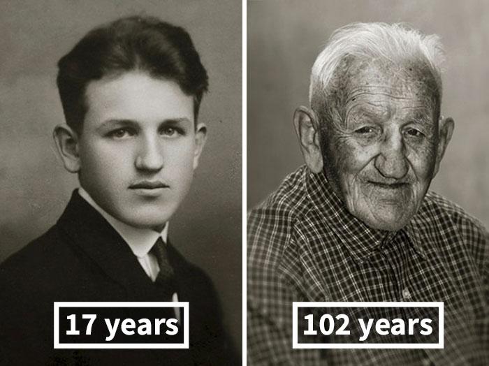 young vs old portraits faces of century jan langer 10 - Impressionante série de retratos: Centenários antes de depois