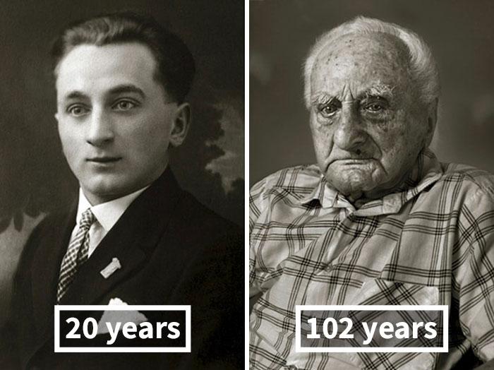 young vs old portraits faces of century jan langer 12 - Impressionante série de retratos: Centenários antes de depois