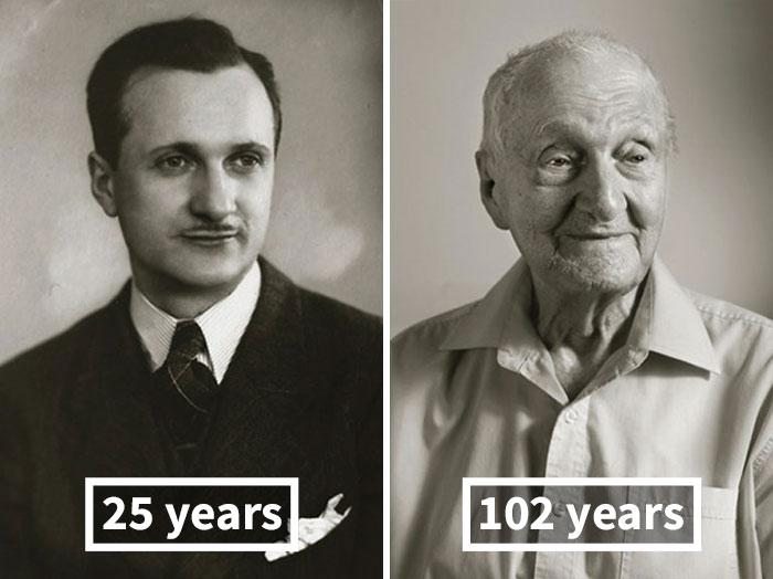 young vs old portraits faces of century jan langer 2 - Impressionante série de retratos: Centenários antes de depois