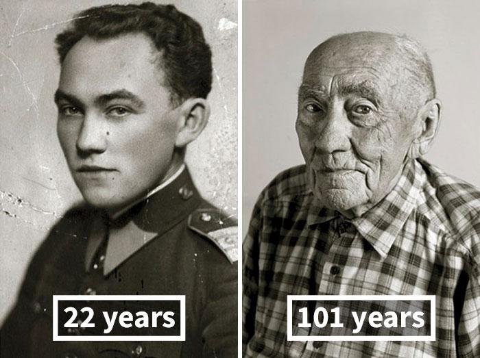 young vs old portraits faces of century jan langer 6 - Impressionante série de retratos: Centenários antes de depois