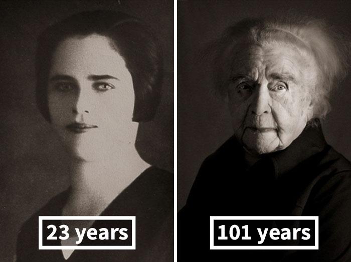 young vs old portraits faces of century jan langer 9 - Impressionante série de retratos: Centenários antes de depois