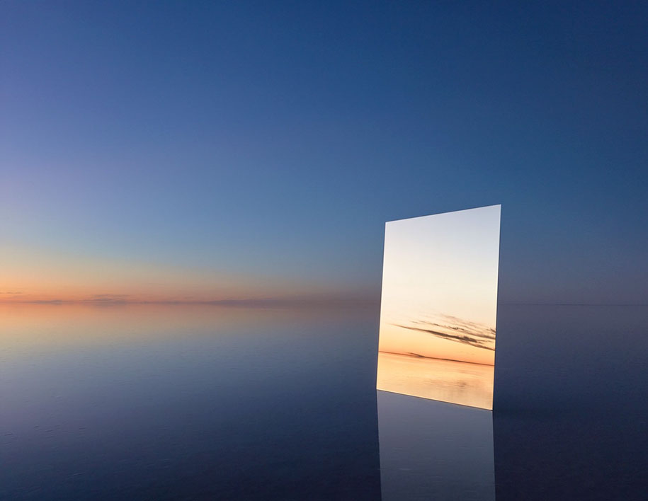 Photographer Put A Huge Mirror In A Salt Flat To Capture