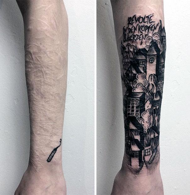 scars tattoos cover up 47 - 50 Incríveis tatuagens de encobrimento de cicatrizes