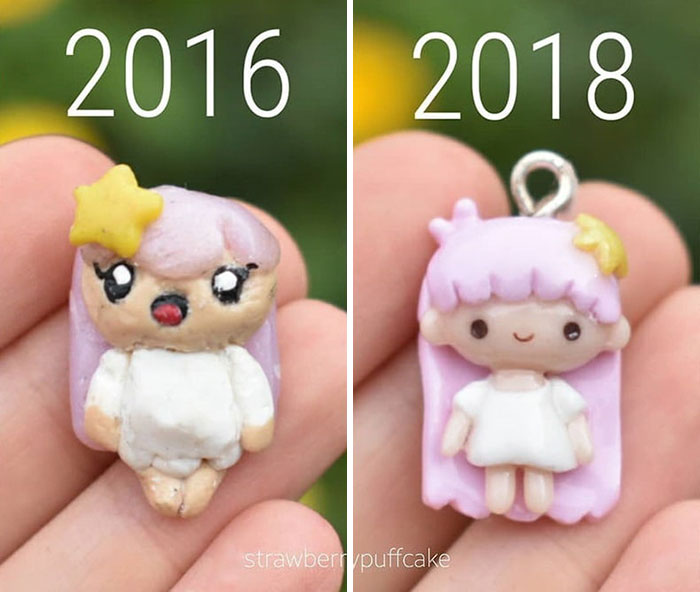 5b6d3ba4c1eee-Clay-modeling-artist-showed-how-the-experience-made-him-evolve-and-this-progress-is-very-good-to-see-5b6aabbb3c796__700 This Artist Was Pleasantly Surprised How Much Her Art Evolved After She Tried Recreating Old Artwork Art Random