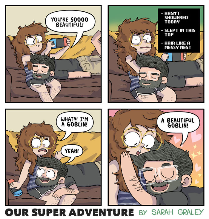 5b6d3bbded512-relationship-comics-boyfriend-cats-sarah-graley-illustration-5b6ae6bb144cd-png__700 Artist Creates Hilarious Comics Illustrating Her Daily Adventures With Her Fiancé And Her Four Cats Random