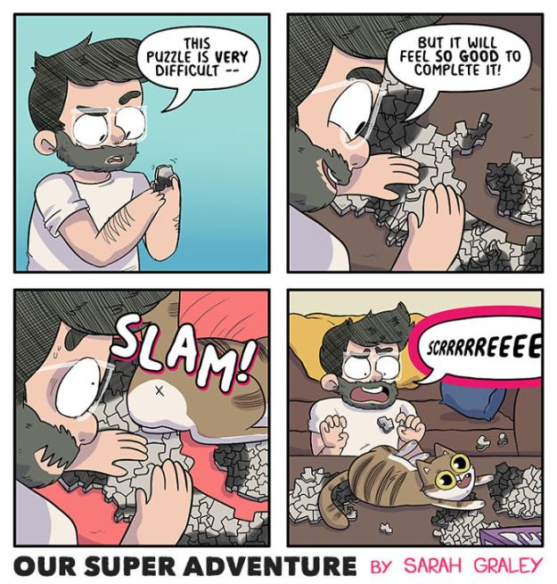 5b6d3bbf037b6-relationship-comics-boyfriend-cats-sarah-graley-illustration-14-5b6ae2cfdcf1a-png__700 Artist Creates Hilarious Comics Illustrating Her Daily Adventures With Her Fiancé And Her Four Cats Random