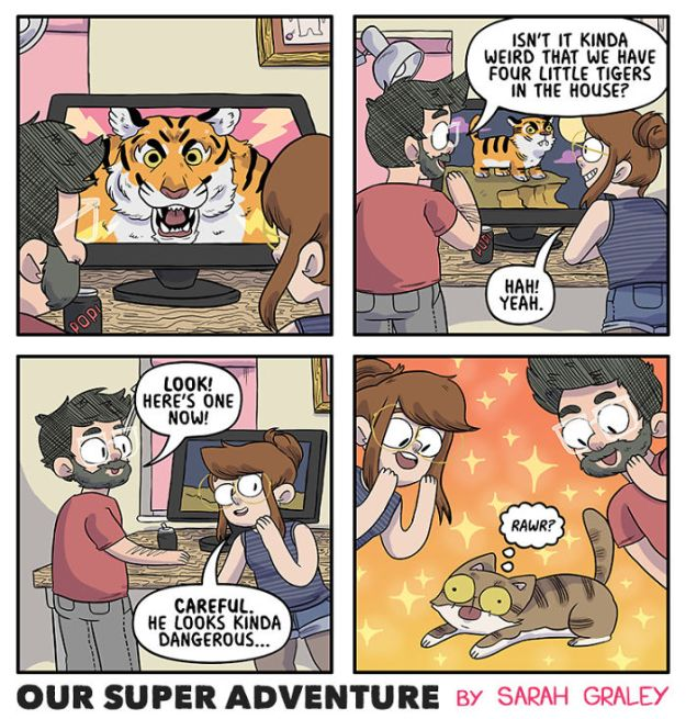 5b6d3bc05cc2b-relationship-comics-boyfriend-cats-sarah-graley-illustration-13-5b6ae2cd8be12-png__700 Artist Creates Hilarious Comics Illustrating Her Daily Adventures With Her Fiancé And Her Four Cats Random
