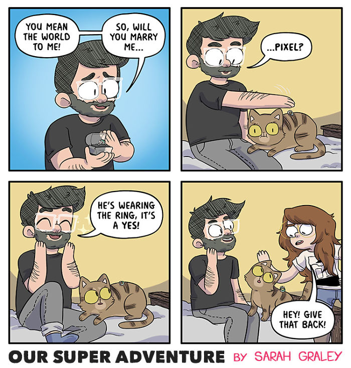 5b6d3bc3a31b7-relationship-comics-boyfriend-cats-sarah-graley-illustration-12-5b6ae2cb51ce0-png__700 Artist Creates Hilarious Comics Illustrating Her Daily Adventures With Her Fiancé And Her Four Cats Random