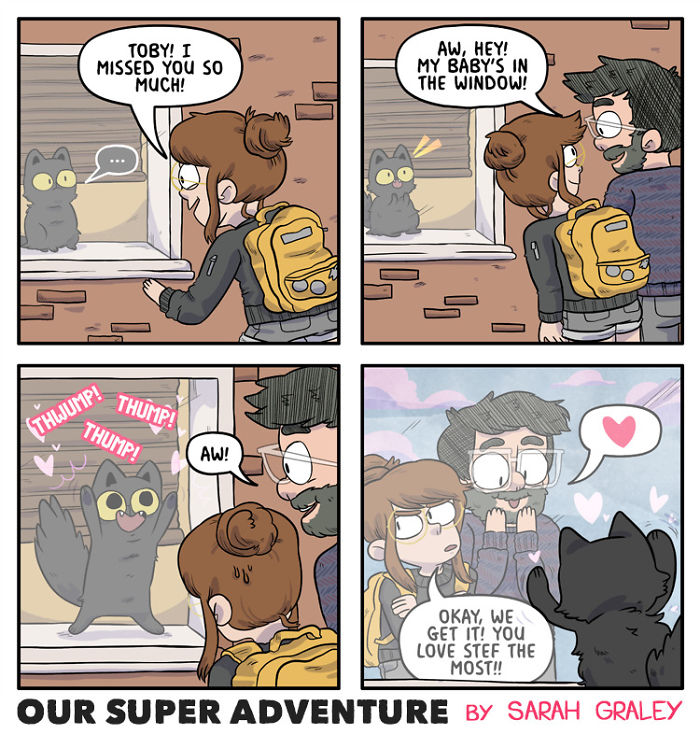 5b6d3bc46f9a8-relationship-comics-boyfriend-cats-sarah-graley-illustration-15-5b6ae2d2e0c4b-png__700 Artist Creates Hilarious Comics Illustrating Her Daily Adventures With Her Fiancé And Her Four Cats Random