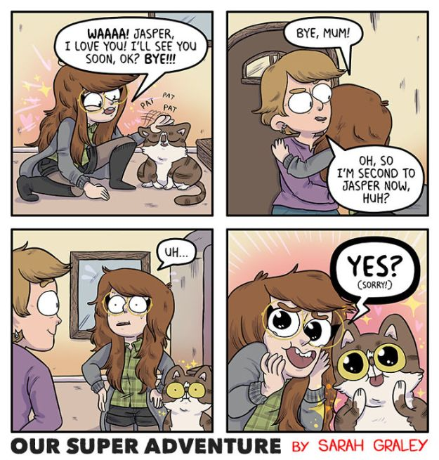 5b6d3bc972457-relationship-comics-boyfriend-cats-sarah-graley-illustration-28-5b6ae2f23726e-png__700 Artist Creates Hilarious Comics Illustrating Her Daily Adventures With Her Fiancé And Her Four Cats Random