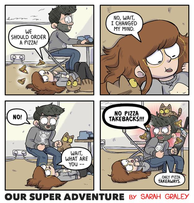 5b6d3bc9b2505-relationship-comics-boyfriend-cats-sarah-graley-illustration-29-5b6ae2f428683-png__700 Artist Creates Hilarious Comics Illustrating Her Daily Adventures With Her Fiancé And Her Four Cats Random