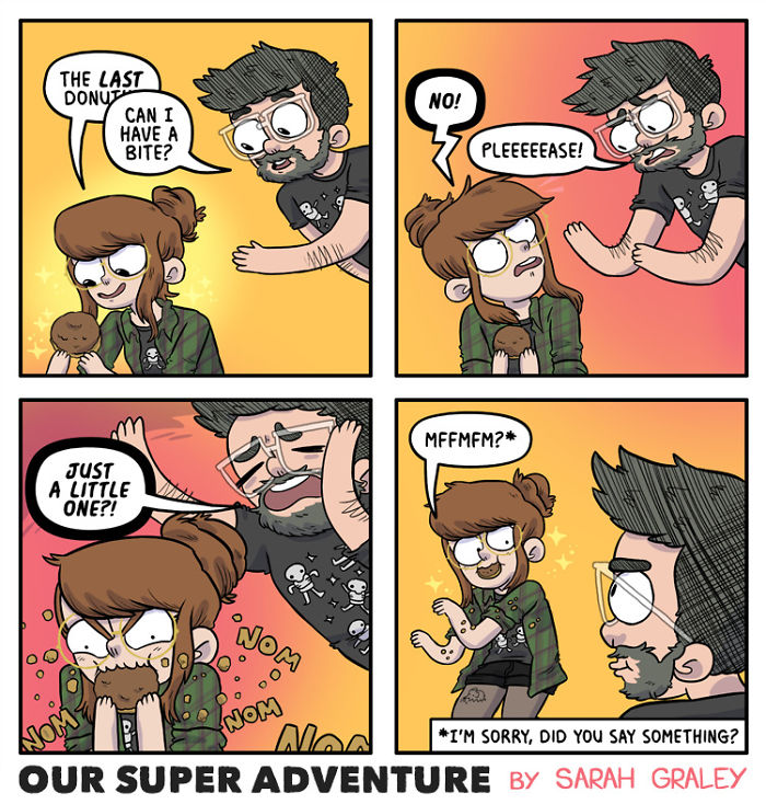 5b6d3bd2291b2-relationship-comics-boyfriend-cats-sarah-graley-illustration-5b6ae6e1cd94d-png__700 Artist Creates Hilarious Comics Illustrating Her Daily Adventures With Her Fiancé And Her Four Cats Random