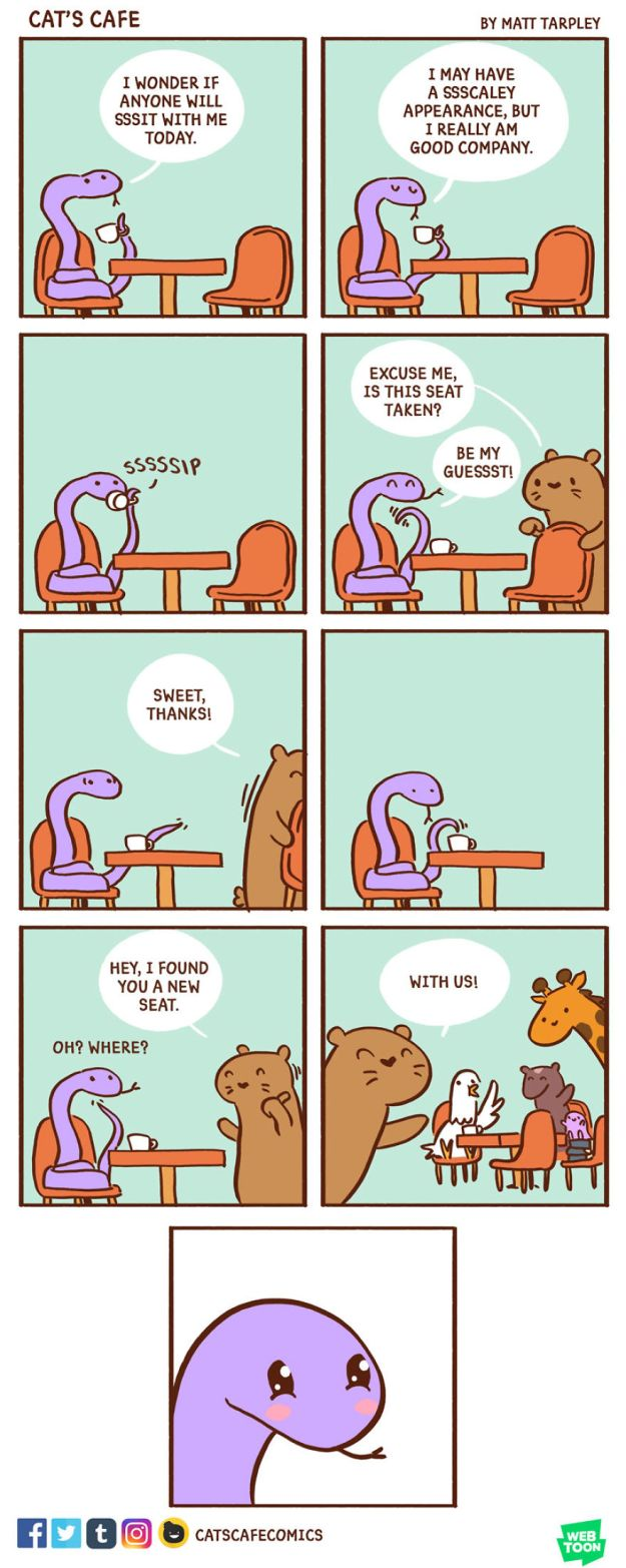 5bf6705b3a519-episode_44-5bf263719bc25__880 47 Wholesome 'Cat's Cafe' Comics That Will Brighten Your Day Random