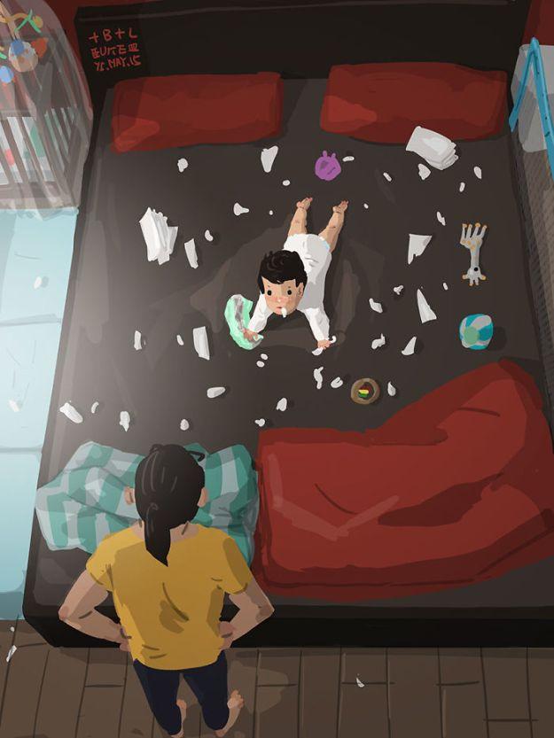 5bfbc2520f3da-father-son-love-comics-blue-6-5bb70c2495cdf__700 38 Heartwarming Illustrations Showing What It's Like To Raise A Child As A Single Dad Random
