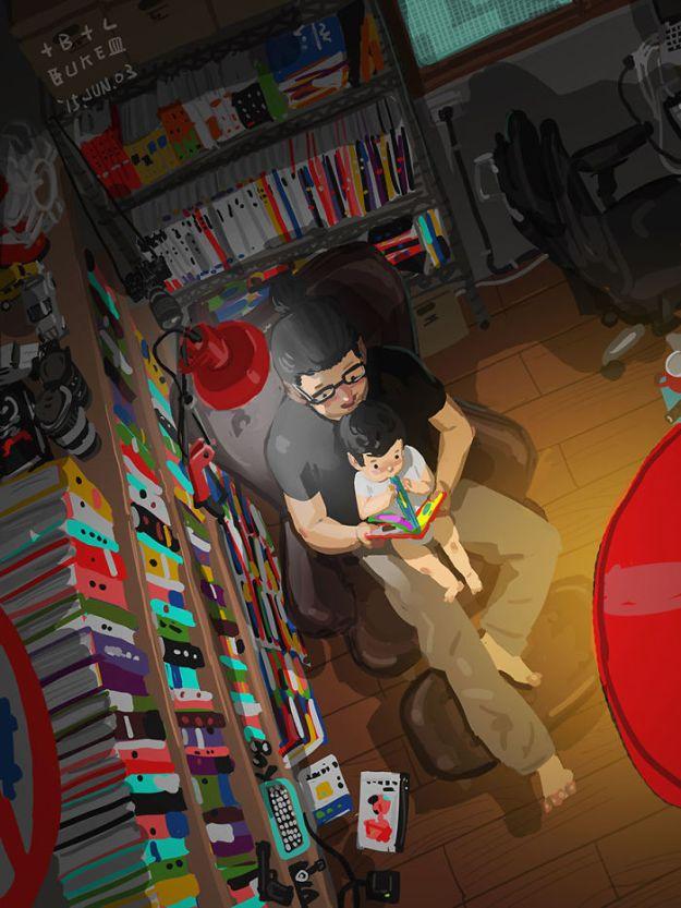 5bfbc252b2e42-father-son-love-comics-blue-13-5bb70c36c895e__700 38 Heartwarming Illustrations Showing What It's Like To Raise A Child As A Single Dad Random