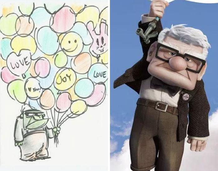 5c9c835d27e41 concept art sketches original compared disney characters 17 5c989351e1630  700 - Personagens da Disney em comparação com sua arte conceitual original