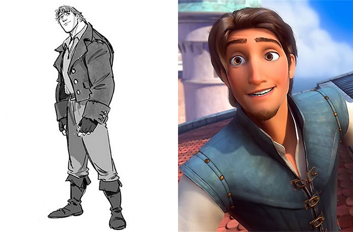 5c9c835e9a867 concept art sketches original compared disney characters 16 5c98935046e61  700 - Personagens da Disney em comparação com sua arte conceitual original