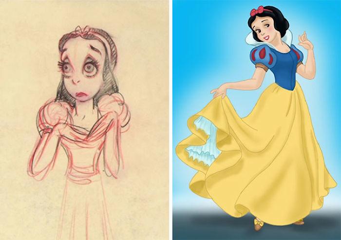 5c9c835f576c1 concept art sketches original compared disney characters 2 5c98933aed173  700 - Personagens da Disney em comparação com sua arte conceitual original