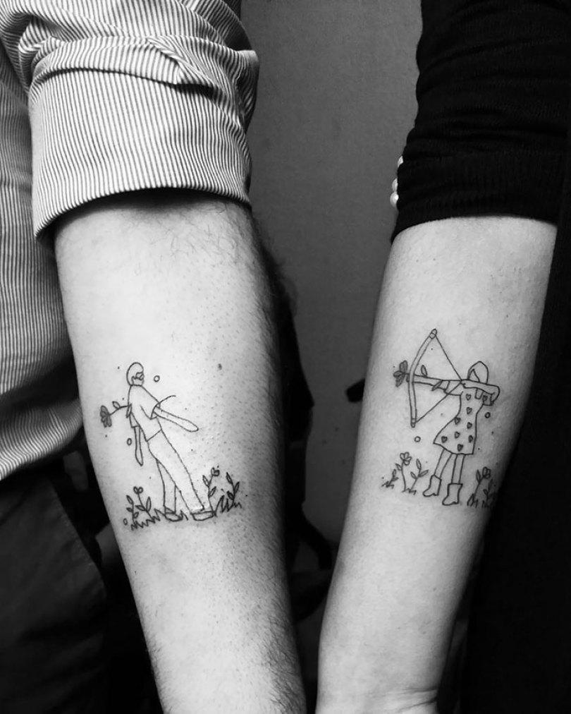 5cee3ce0433d8 matching tattoo ideas 11 5ce53dceb4f24  700 - 30 criativas tatuagens conectadas entre pessoas