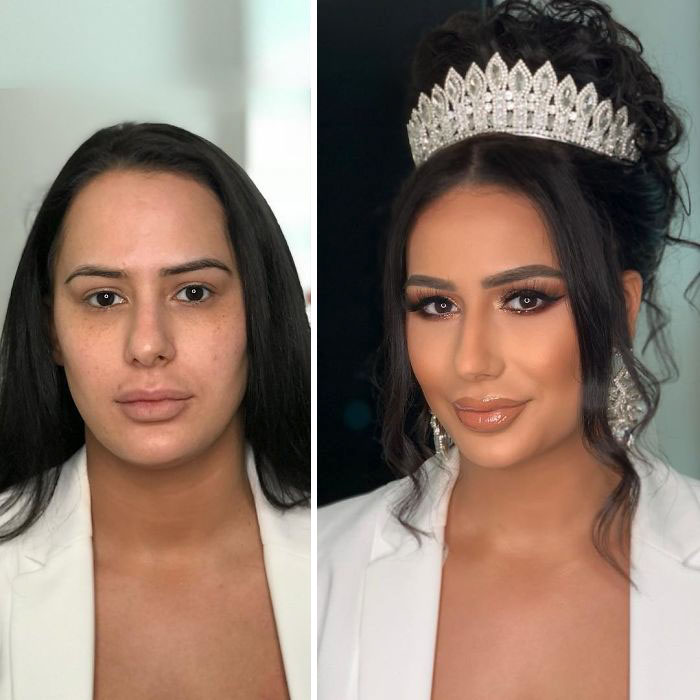5d4d3da416d90 bride 14 5d4bd02454e3b  700 - 23 lindas noivas antes e depois de sua maquiagem de Casamento