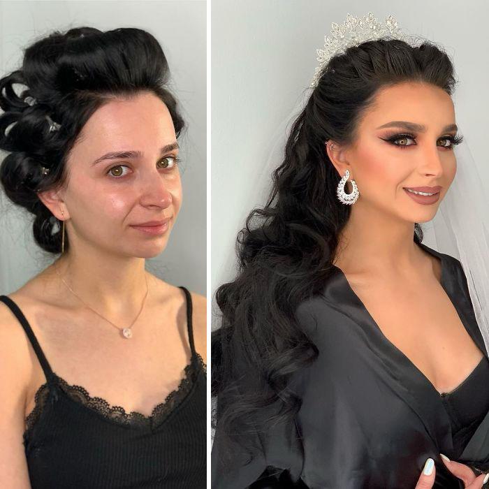 5d4d3da460bd1 bride 15 5d4bd0266d666  700 - 23 lindas noivas antes e depois de sua maquiagem de Casamento