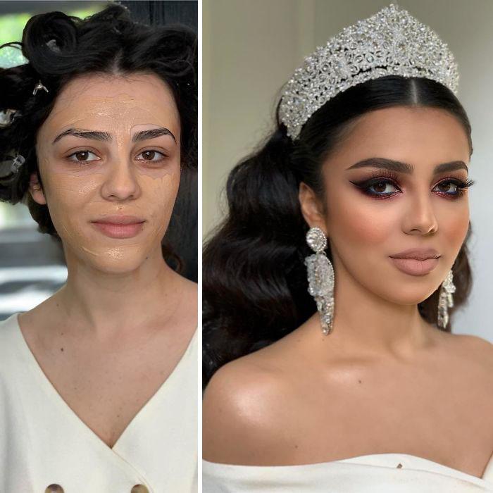 5d4d3da4e0cb9 bride 17 5d4bd029e7709  700 - 23 lindas noivas antes e depois de sua maquiagem de Casamento