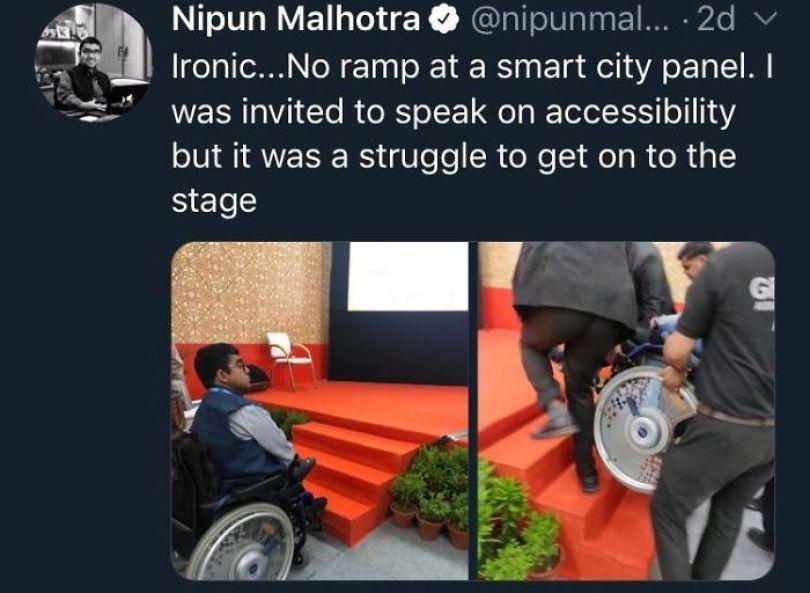 Convidado de cadeira de rodas para falar sobre acessibilidade #irônico