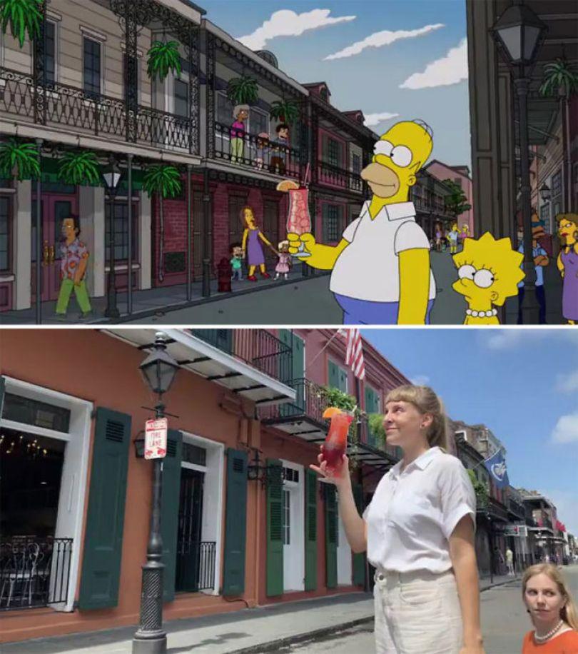 "5d6cc3ed0c206 An episode of The Simpsons recreated in real life fun by two fans 5d678f66cd4e1 700 - Mulher recria cenas de Homer de ""Os Simpsons"" comendo em restaurantes"