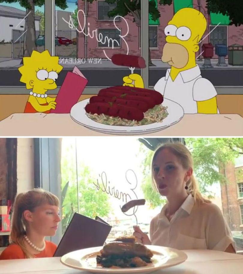 "5d6cc3ed96749 An episode of The Simpsons recreated in real life fun by two fans 5d678f74a45f7 700 - Mulher recria cenas de Homer de ""Os Simpsons"" comendo em restaurantes"