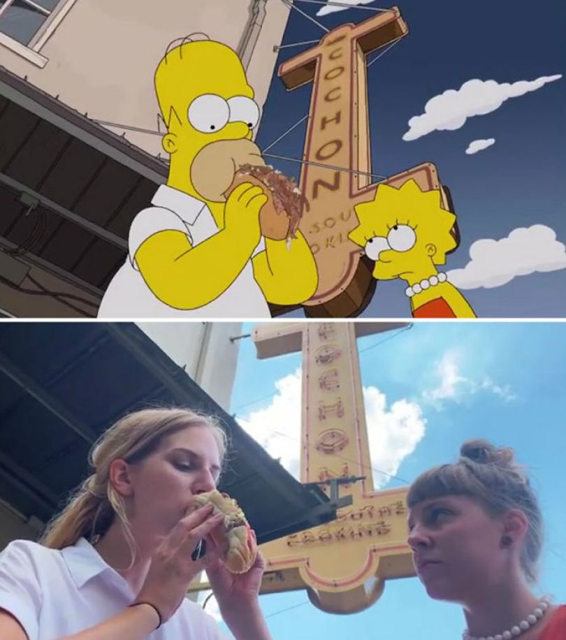 "5d6cc3ee2a04a An episode of The Simpsons recreated in real life fun by two fans 5d678f7d399b4 700 - Mulher recria cenas de Homer de ""Os Simpsons"" comendo em restaurantes"