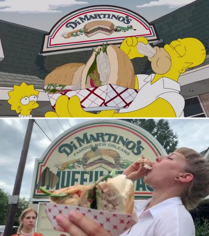 "5d6cc3ee47154 An episode of The Simpsons recreated in real life fun by two fans 5d678f7ed8a53 700 - Mulher recria cenas de Homer de ""Os Simpsons"" comendo em restaurantes"