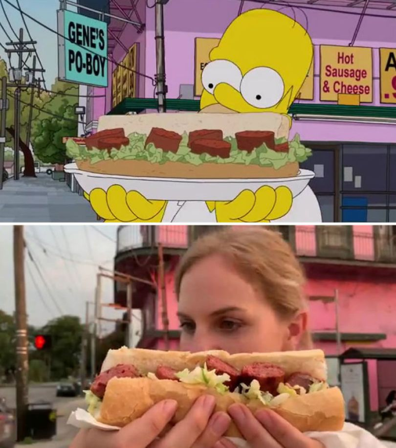 """5d6cc3eed1b0f An episode of The Simpsons recreated in real life fun by two fans 5d678f79c2fae 700 - Mulher recria cenas de Homer de """"Os Simpsons"""" comendo em restaurantes"""