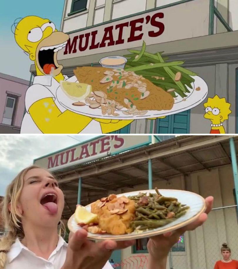 """5d6cc3ef605ed An episode of The Simpsons recreated in real life fun by two fans 5d678f840a15e 700 - Mulher recria cenas de Homer de """"Os Simpsons"""" comendo em restaurantes"""