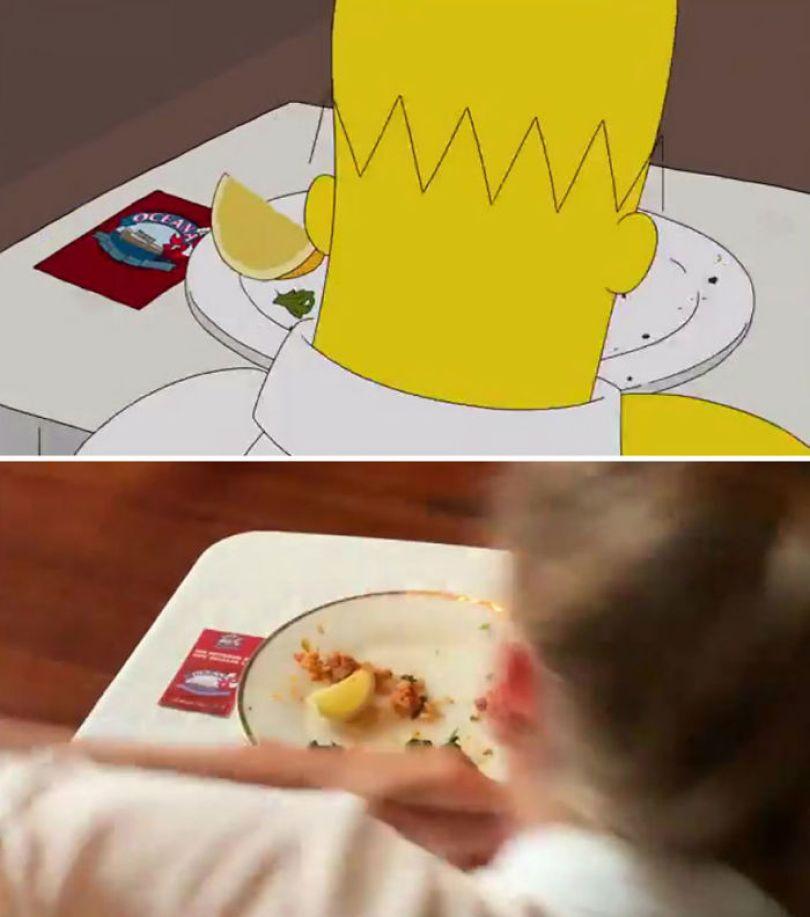"""5d6cc3f054243 An episode of The Simpsons recreated in real life fun by two fans 5d678f928b81e 700 - Mulher recria cenas de Homer de """"Os Simpsons"""" comendo em restaurantes"""