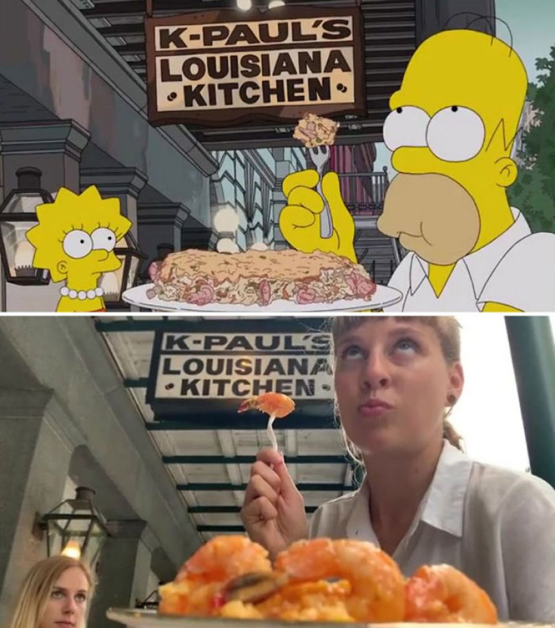 "5d6cc3f071a21 An episode of The Simpsons recreated in real life fun by two fans 5d678f9445df0 700 - Mulher recria cenas de Homer de ""Os Simpsons"" comendo em restaurantes"