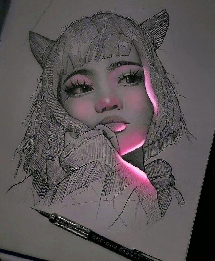 5e4b9f6880a80 B0HDb6UpFX  png  700 - Técnica única deste artista faz parecer que seus desenhos estão brilhando