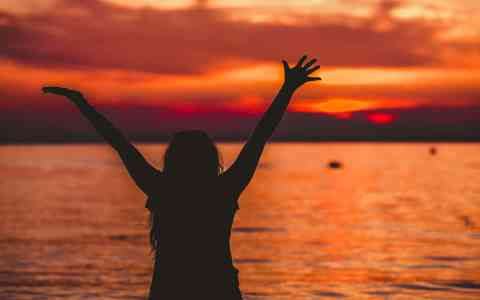 Happy Woman opening hands to sunset