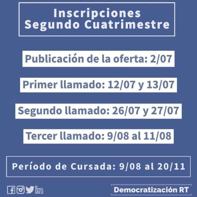 📢 Inscripciones segundo cuatrimestre 2021