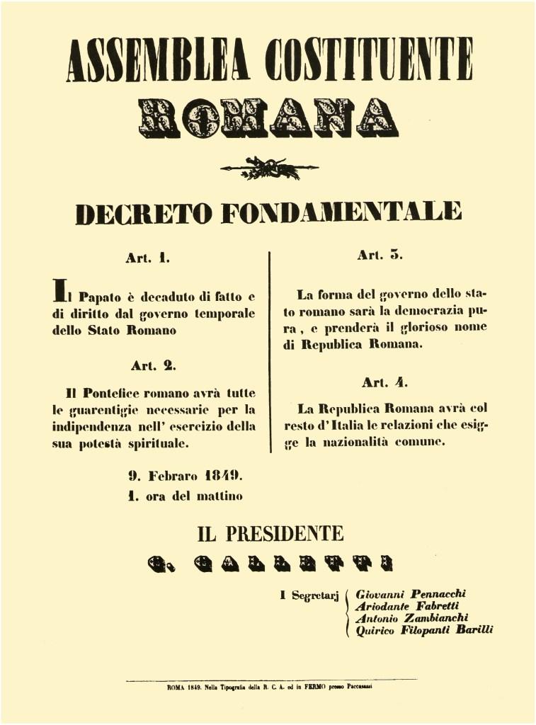 Decreto fondamentale che istituisce la Repubblica (9 Febbraio 1849)