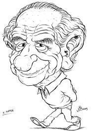 Karl Popper - Caricatura di Emiliano Bruzzone