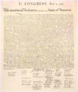 Dichiarazione d'indipendenza americana. 4 Luglio 1776.