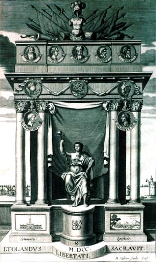 03 Omaggio a John Toland (1670-1722), curatore della edizione della Repubblica di Oceana del 1669. Incisione di Michael van der Gucht
